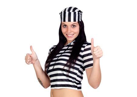 Sexy prisoner saying Ok isolated on a over white background Stock Photo - 8158590