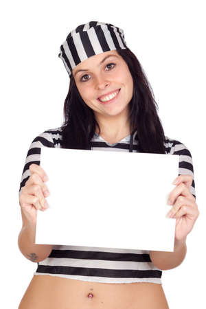 Sexy prisoner with blank paper isolated on a over white background photo
