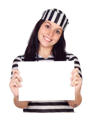 Sexy prisoner with blank paper isolated on a over white background Stock Photo - 8158646