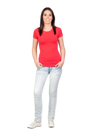 Beautiful casual girl isolated on a over white background Stock Photo - 8158638