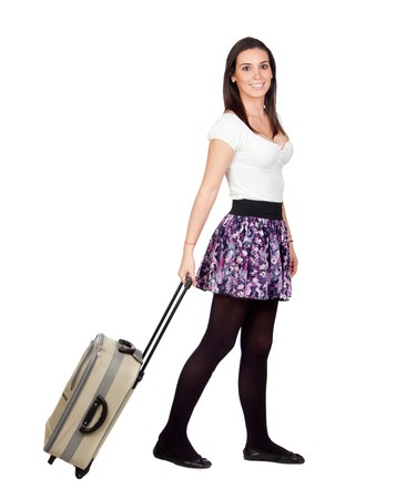 Beautiful girl with a suitcase isolated on white background Stock Photo - 8158637