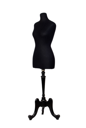 sewing supplies: Photo of black mannequin isolated on a over white background