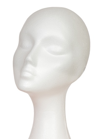 bald girl: Female mannequin head cork isolated on white background