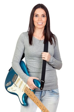Attractive girl with a blue electric guitar isolated on white background photo