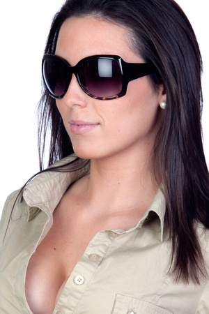 Sexy girl with sunglasses isolated on a over white background photo