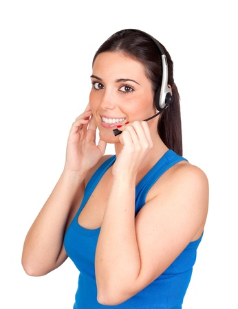 teleoperator: Attractive teleoperator with headphones isolated on white background Stock Photo
