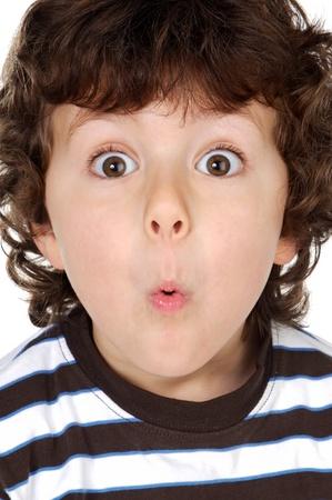 Funny Boy Entrücktheit isolierten auf weißen Hintergrund