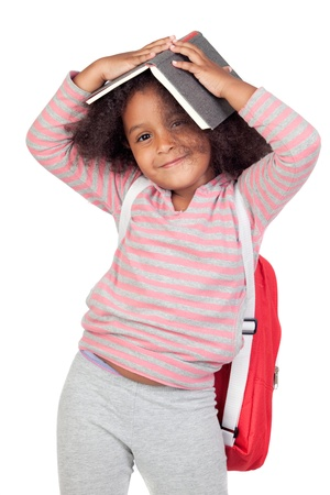 Student little girl with beautiful hairstyle isolated over white photo