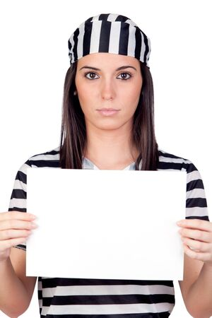 Serious prisoner with blank paper isolated on a over white background Stock Photo - 8590589