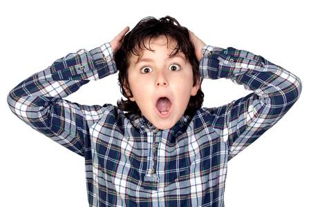 surprised face: Amazed child with plaid t-shirt isolated on white background