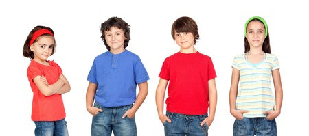 play boy: Group of children isolated on a over white background