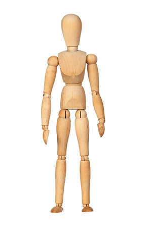 Jointed wooden mannequin isolated on white background photo