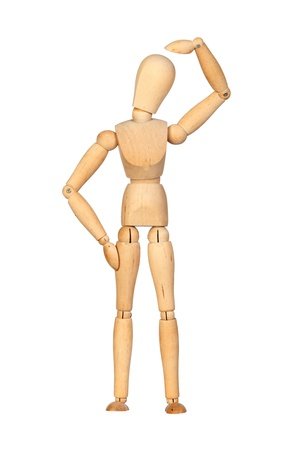 jointed: Pensive jointed wooden mannequin isolated on white background