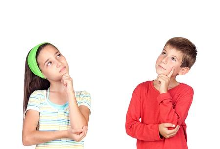 girl thinking: Thoughtful children isolated on white background