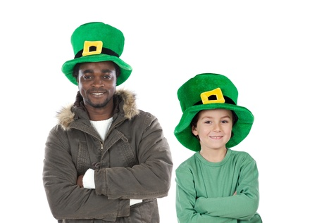Child and man whit hat of Saint Patricks Day celebration photo