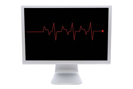 Computer monitor with a red line isolated on white background  photo