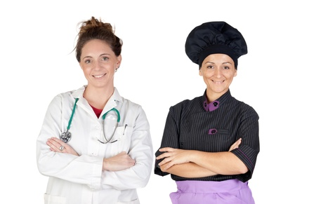 Women workers on a over a white background photo