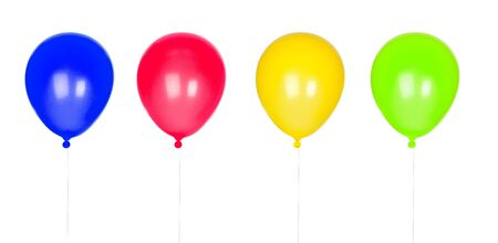 inflated: Four colorful balloons inflated isolated on white background