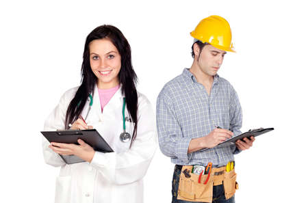 Young construction worker and a doctor isolated on a over white background photo