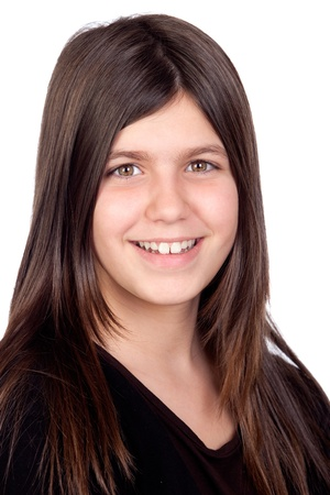 Adorable preteen girl isolated on white background Stock Photo - 8989000