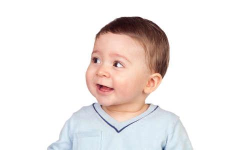 Beautiful baby with nice eyes isolated on white background Stock Photo - 8989039