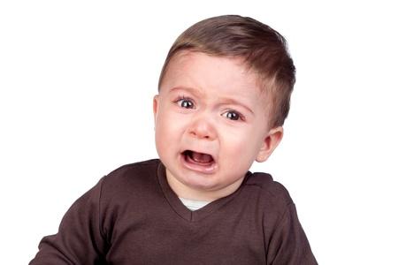 Beautiful baby crying isolated on white background Stock Photo - 9133935