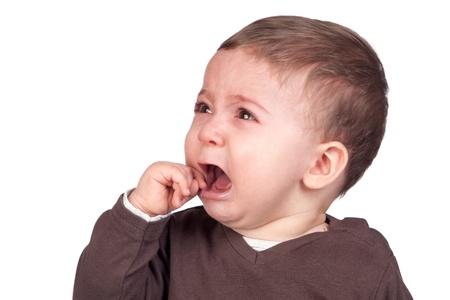 Beautiful baby crying isolated on white background Stock Photo - 9133942