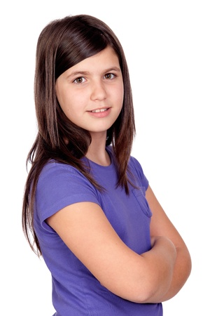 preteens girl: Adorable preteen girl isolated on white background