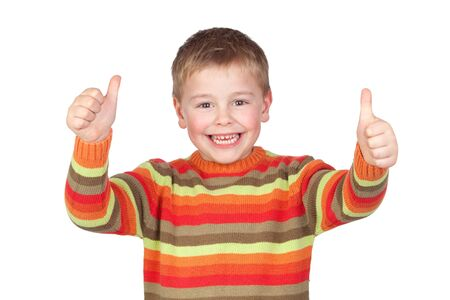 male's thumb: Adorable child with thumbs up isolated on white background Stock Photo