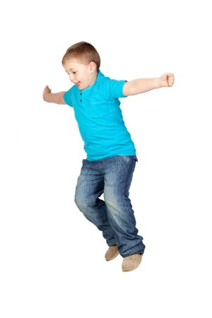 Adorable child jumping isolated on white background Stock Photo - 9188167