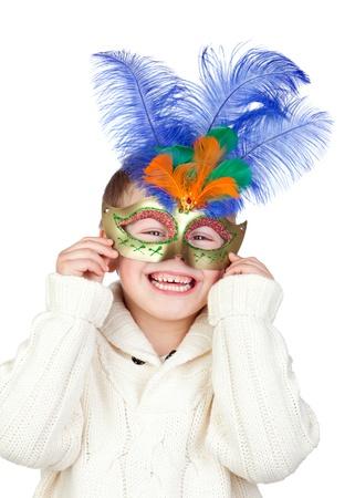 ni�os rubios: Adorable ni�o con m�scara de Carnaval aislada sobre fondo blanco Foto de archivo