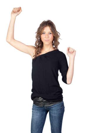 Winner model girl isolated on white background Stock Photo - 9317986