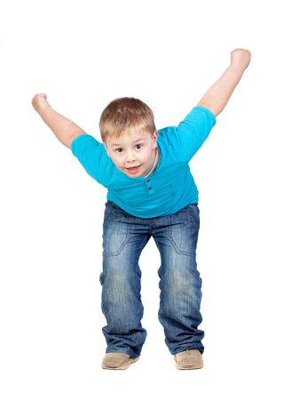 Adorable child jumping isolated on white background photo