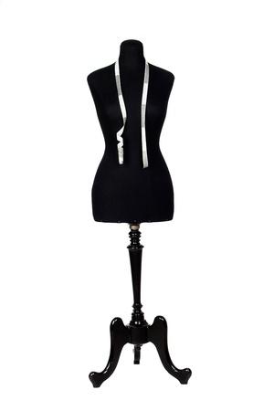 mannequin: Mannequin avec un ruban � mesurer un plus blanc arri�re-plan