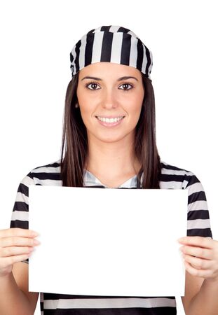 Beautiful prisoner with blank paper isolated on a over white background photo