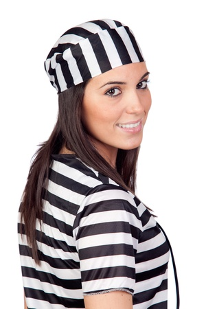 Attractive woman dressed in prisoner isolated on white background photo