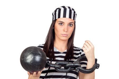 woman prison: Beautiful prisoner with inmate ball isolated on a over white background