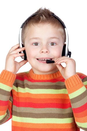 teleoperator: Adorable child with headphones isolated over white