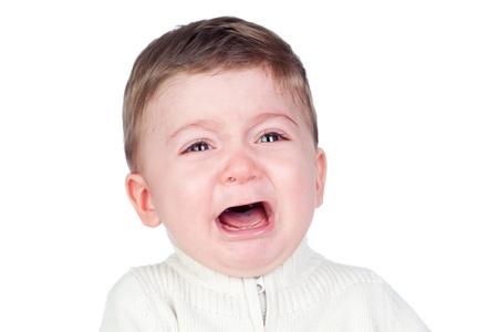 tantrums: Bel bambino piangere isolato su sfondo bianco Archivio Fotografico