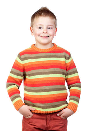 Adorable child with blond hair isolated on white background photo