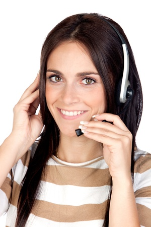 teleoperator: Beautiful brunette girl with headphone isolated on a over white background Stock Photo