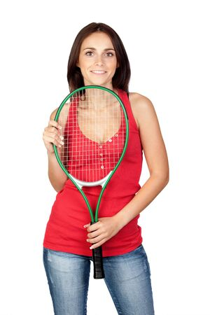 Beautiful brunette girl with tennis racket isolated on a over white background Stock Photo - 9505466