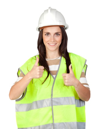 Attractive worker with reflector vest isolated on a over a white background photo