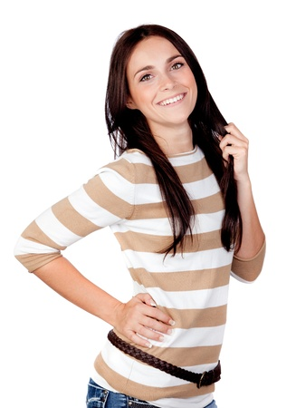 Beautiful brunette girl isolated on a over white background photo