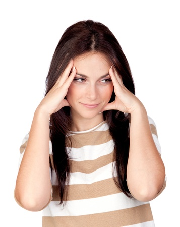 Worried girl with headache isolated on a over white background photo