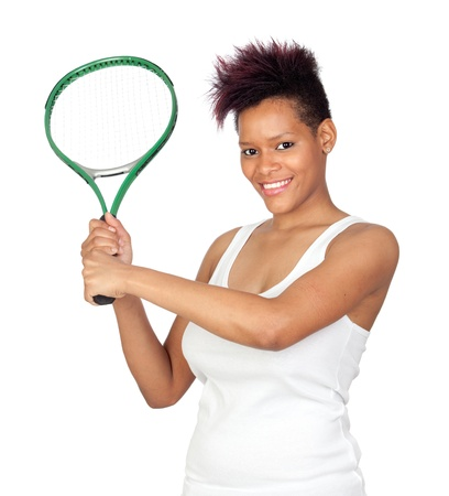 Exotic african tennis player isolated on white background Stock Photo - 9574081