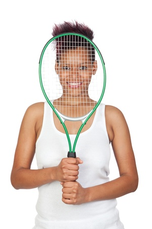 Exotic african tennis player isolated on white background Stock Photo - 9574098