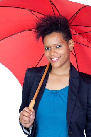 African girl with a umbrella isolated on white background photo