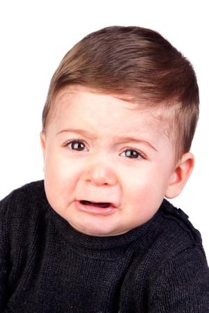 facial gestures: Hermoso beb� llorando aislado sobre fondo blanco Foto de archivo