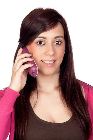 oral communication: Brunette girl with a phone on a over white background